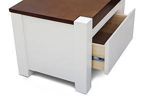 Кровать двуспальная из массива сосны  Беатрис Микс мебель, цвет  ваниль + темный орех, фото 3