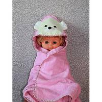 Полотенце-уголок для купания деткое Розовое Мишка
