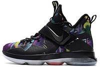 """Баскетбольные кроссовки Nike LeBron 14 """"Crazy Colored"""" (Найк Леброн) черные"""