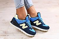 Женские кроссовки, замшевые, с кожаными вставками желтого цвета, темно-синие