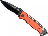 Нож со складным лезвием YATO частично зубчатым, l= 200 мм  [12/120]