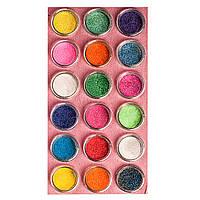 Большой набор цветного песка для дизайна ногтей, 18 цветов