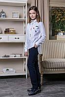 Стильная белая, хлопкова рубашка с удлененной спинкой для девочек, 146, 152, 158, 164, 170, Школа