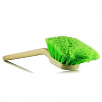 Щетка для чистки кузова и колес с длинной ручкой и жесткой длинной щетиной зеленого цвета и изогнутой кверху г