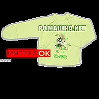 Распашонка для новорожденного р. 56 с царапками демисезонная ткань ИНТЕРЛОК 100% хлопок ТМ Алекс 3169 ЗеленыйА