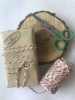 Цветная нить, верёвка, шпагат хлопок, декоративный шнур для упаковки, белая с красным