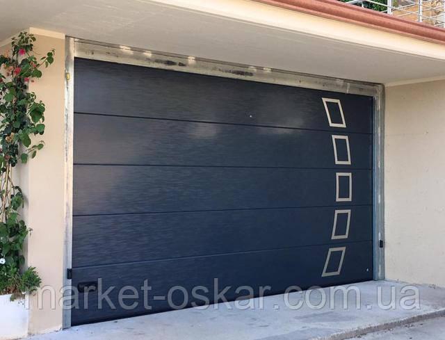 Гаражные секционные ворота с рисунком панели 3D Slick