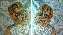 свадебная причёска сделана нашей покупательнице с помощью тресс с локонами код 1208.