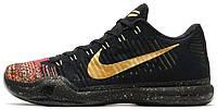 """Баскетбольные кроссовки Nike Kobe 10 Elite Low """"Christmas"""" Black/Metallic Gold-Bright Crimson (Найк) черные"""