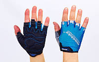 Вело-перчатки текстильные MADBIKE Голубой, M