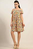 Летнее платье Нелли свободного кроя с открытыми плечами и коротким рукавом 42-52 размеры