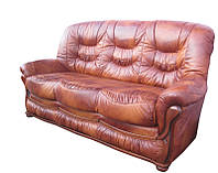 """Прямой кожаный раскладной диван """"Премьер - 3"""". (187 см)"""