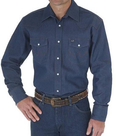Рубашка джинсовая Wrangler Work Western - Indigo Denim