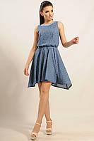 Летнее платье Тиара отрезное по линии талии и юбкой-колоколом с фигурным низом 42-52 размера 46