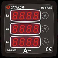 DATAKOM DA-0303 Амперметр, 75-150V питание, 3 фазы, 72x72мм, 3 дисплея
