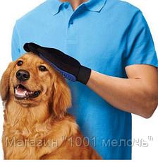 Перчатка для чистки животных,Перчатка для вычесывания шерсти животных True Touch, фото 3