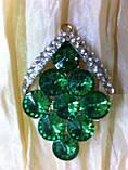Брошь с  зелеными камнями  высота 5 см, фото 2