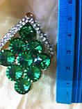 Брошь с  зелеными камнями  высота 5 см, фото 3
