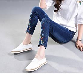 Синие джинсы женские с вышивкой AL7760