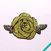 Термонашивка, наклейка на одежду Роза со стразами [21 шт. на листе]