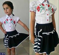 Блузка для девочки школьная белая нарядная короткий рукав с вышивкой