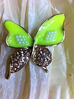 Брошь бабочка  лимонного  цвета высота 3,7 см