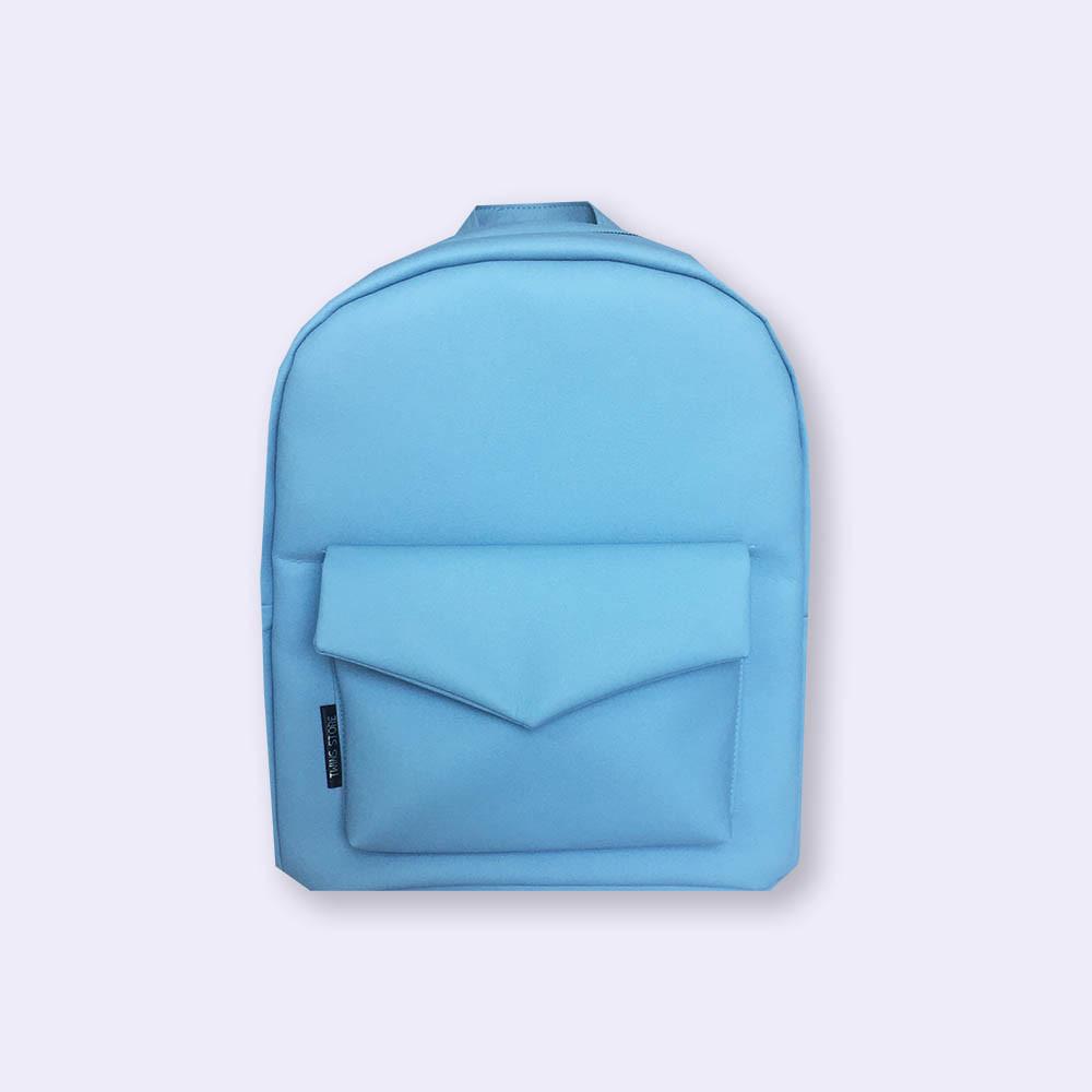 Голубой кожаный рюкзак Р44 TWINS STORE