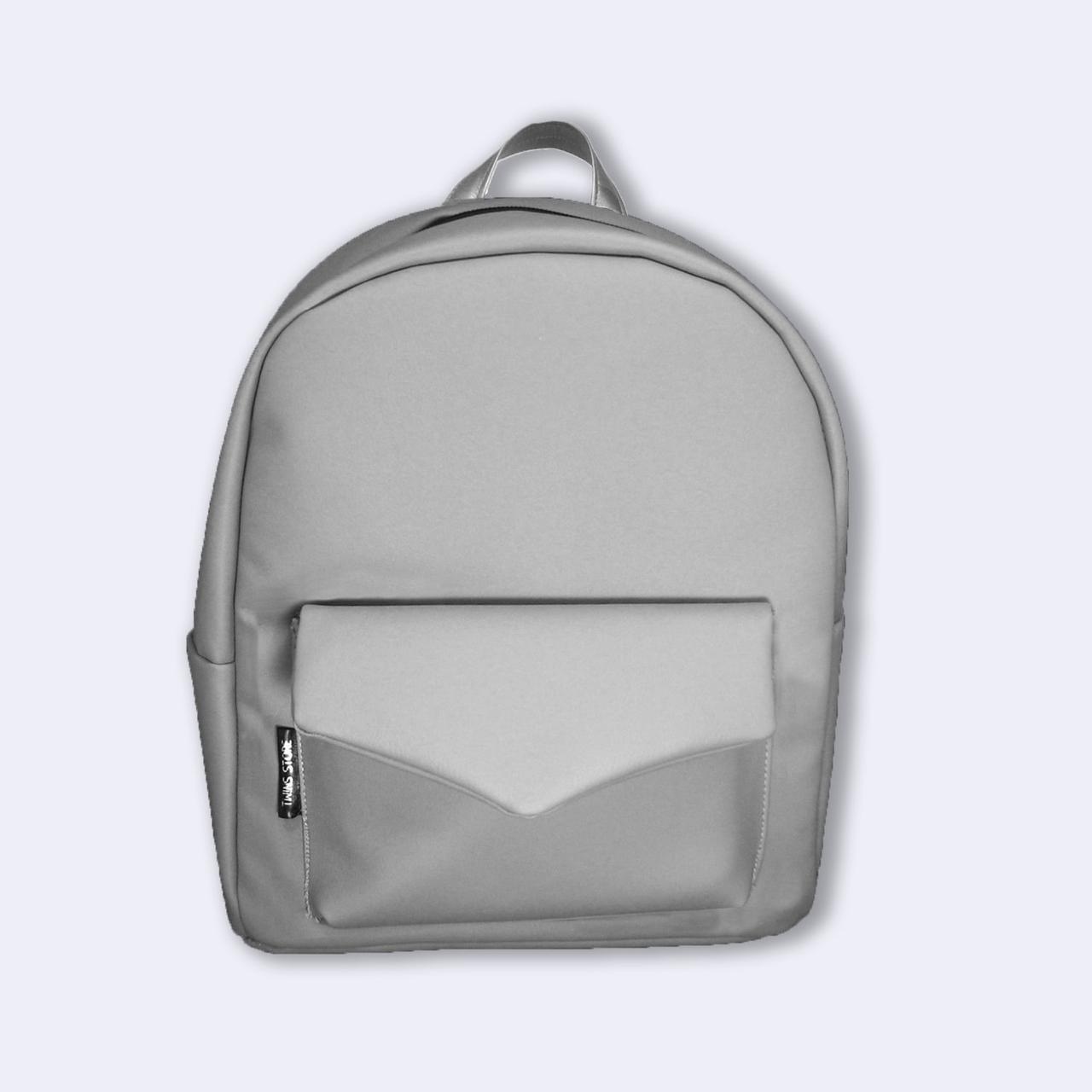 7d2adcfa6f29 Светло-серый кожаный рюкзак Р34 TWINS STORE, цена 749 грн., купить в Киеве  — Prom.ua (ID#563085549)