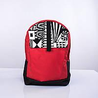 Черно-красный рюкзак с орнаментом Р6 TWINS STORE