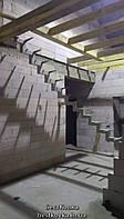 Каркас лестницы на ломаном косоуре, поворот 90 градусов