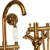 Смеситель напольный для ванной комнаты Retro (яркое золото)