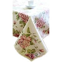 Скатерть с кружевом на стол 120х140 Прованс Large Pink Rose