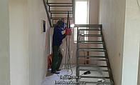 Сварной каркас классической 2х маршевой лестницы