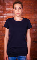 Черная футболка женская однотонная без рисунка летняя классическая с коротким рукавом хлопковая хб(Украина)