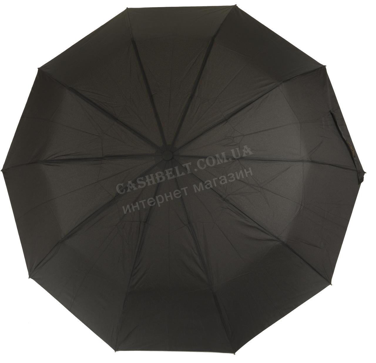 Мужской прочный зонт полуавтомат классический черный цвет BELLISSIMO art. 455 черный (101220)