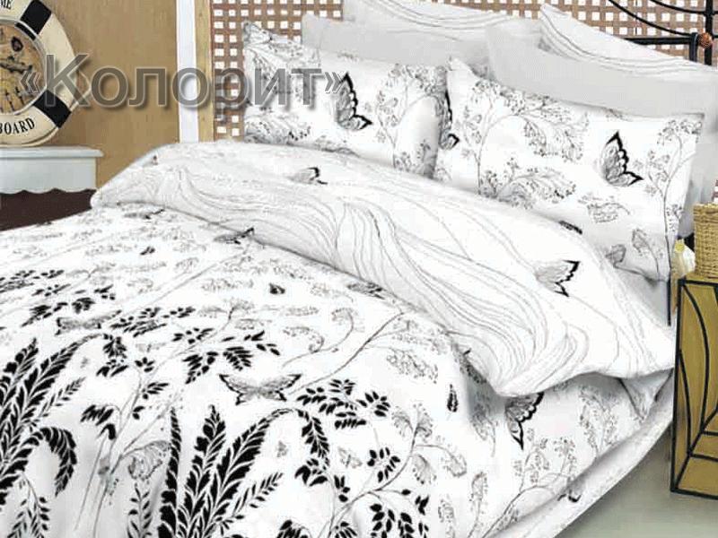 Евро комплект постельного белья Метелики білі