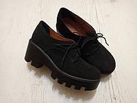 Броги Saleks цвет Черный, натуральная Замша на тракторном каблуке внутри итальянская натур кожа