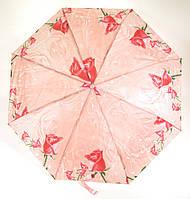 Женский симпатичный стильный прочный механический дешевый зонтик SWIFTs art. 301A розовый в цветочек (101182)
