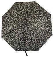 Женский симпатичный стильный прочный механический дешевый зонтик SWIFTs art. 301A черный в цветочек(101233)
