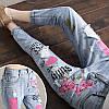 Светлые джинсы женские с вышивкой AL7768, фото 3