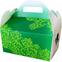 Коробки для свадебного каравая бело-зеленая с глитером