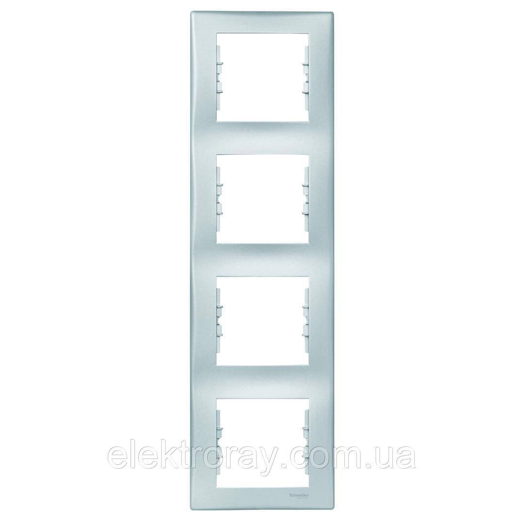 Рамка 4-местная вертикальная Schneider Sedna алюминий