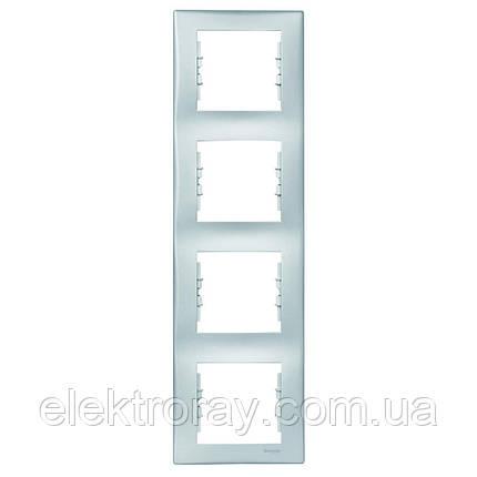 Рамка 4-местная вертикальная Schneider Sedna алюминий, фото 2