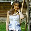 Вышитый женский корсет лен белый с молнией до 54 размера