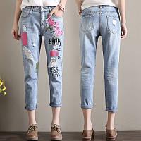 Светлые джинсы с вышивкой СС7768