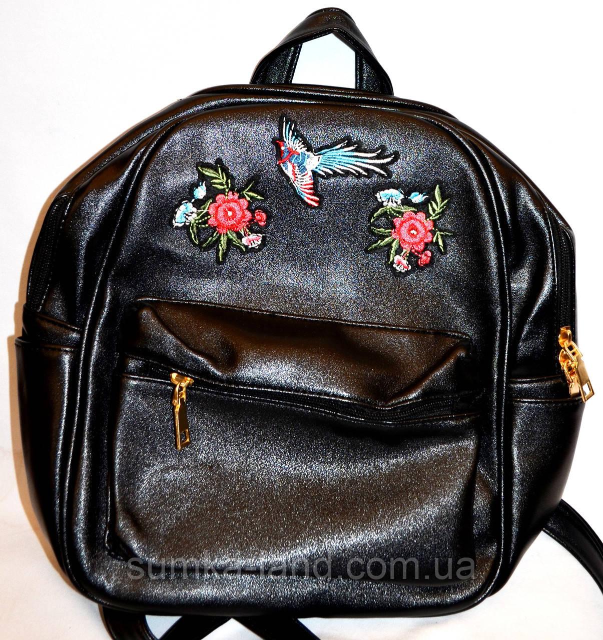 5712be714053 Женский маленький черный рюкзак с вышивкой 25*30 - SUMKA-LAND в Харькове