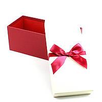 Коробка прямоугольная с бордовым бантом 11х24,5х10 см