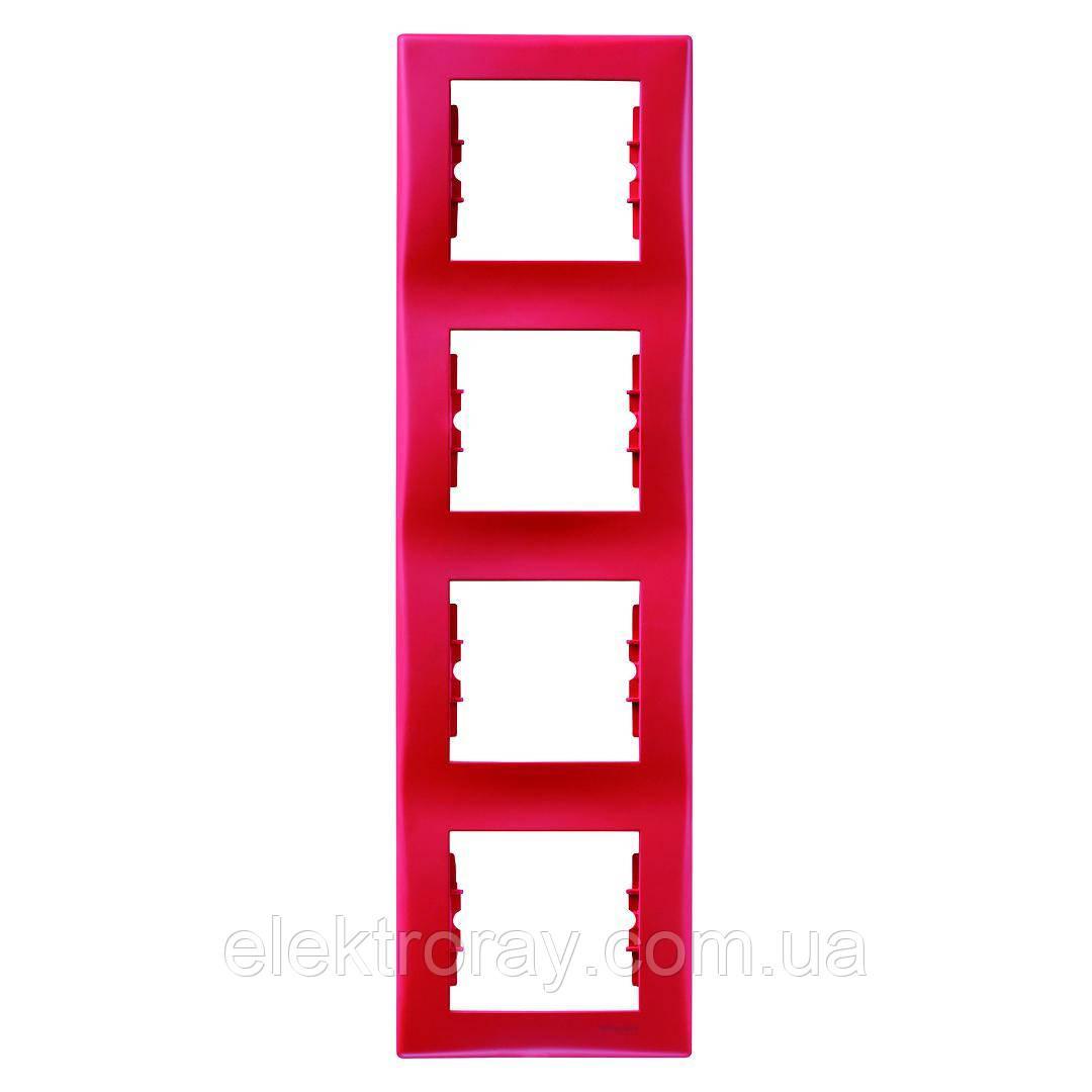 Рамка 4-местная вертикальная Schneider Sedna красный