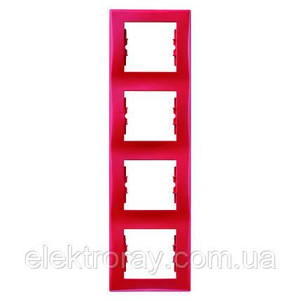 Рамка 4-местная вертикальная Schneider Sedna красный, фото 2
