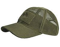 Бейсболка летняя для жаркой погоды Helikon-Tex Baseball MESH Cap Olive CZ-BBМ-PO-02